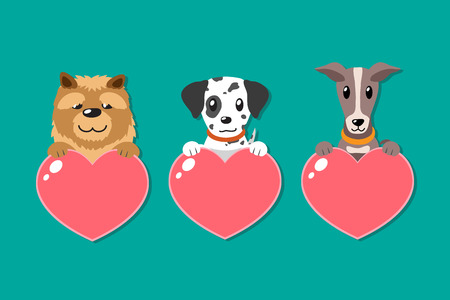 Set of cartoon dogs with heart signs for design. Standard-Bild - 118015257