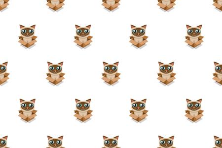 Vector cartoon illustration set of siamese cat in cardboard box for design. Standard-Bild - 118015259