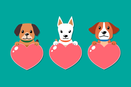 Vector dogs with heart signs set for design. Standard-Bild - 118015266