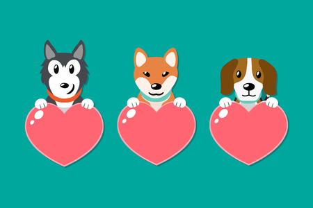 Vector set of dogs with heart signs for design. Illustration
