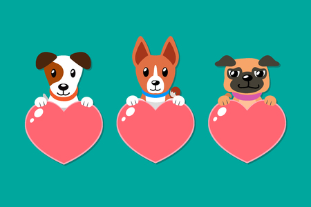 Cartoon set of dogs with heart signs for design. Illustration