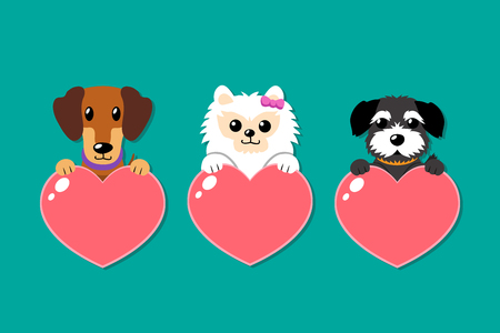 Set of cartoon vector dogs with heart signs for design.