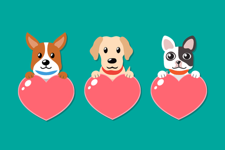 Vector cartoon set of dogs with heart signs for design. Standard-Bild - 118015271