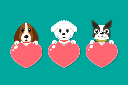 Cartoon dogs with heart signs set for design. Standard-Bild - 118015273