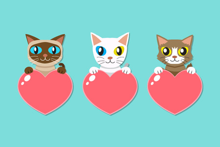 Set of cartoon cats with heart signs for design. Standard-Bild - 118160824