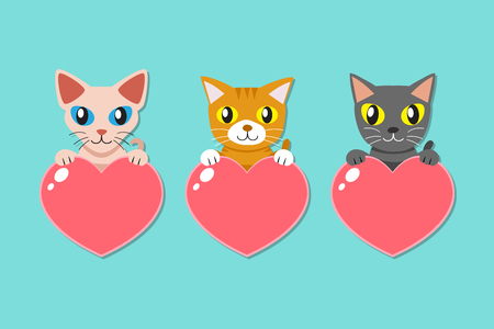 Set of cartoon cute cats with heart signs for design.