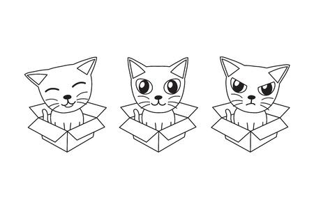 Vector cartoon cat in cardboard box for design. Standard-Bild - 118160826