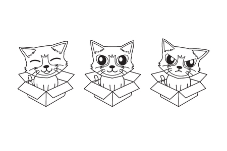 Vector cartoon cute cat in cardboard box for design. Standard-Bild - 118519129