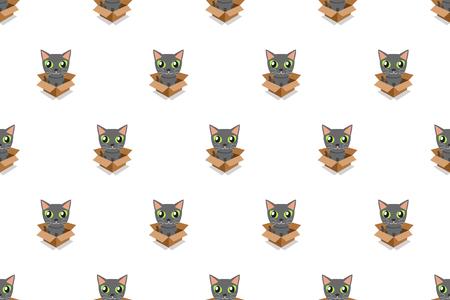 Vector cartoon grey cat in cardboard box seamless pattern for design. Standard-Bild - 118519166