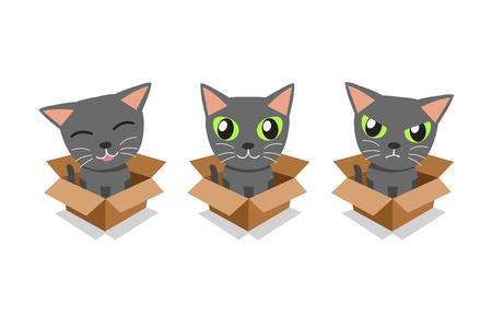 Vector cartoon illustration set of grey cat in cardboard box for design. Standard-Bild - 118519172