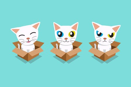 Vector cartoon illustration set of white cat in cardboard box for design. Standard-Bild - 118519176