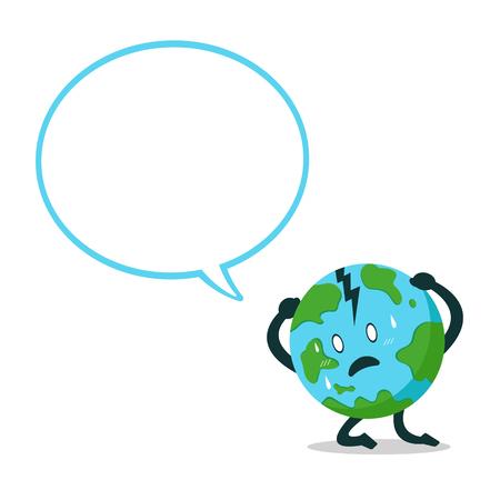 Vector cartoon character earth with speech bubble for design. Standard-Bild - 118519181