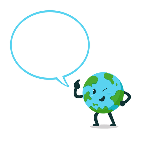 Vector cartoon earth character with big speech bubble for design. Standard-Bild - 118519185