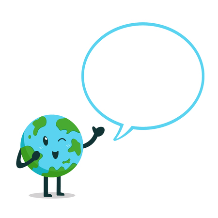 Vector cartoon earth character with white speech bubble for design. Standard-Bild - 118519187