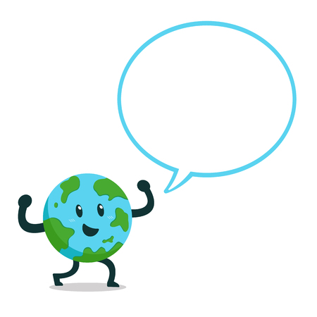 Cartoon character earth with speech bubble for design. Standard-Bild - 118519245