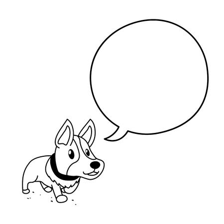 Cartoon character cute corgi with speech bubble Standard-Bild - 118519249