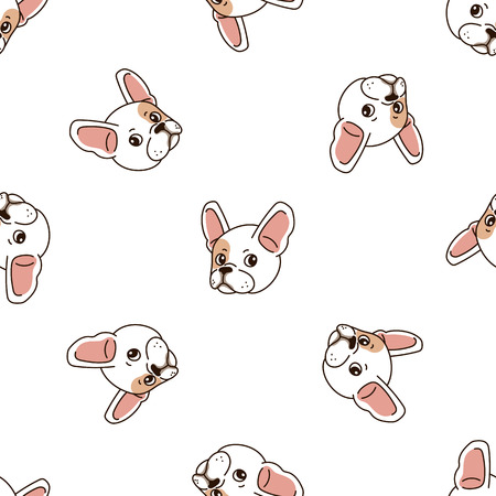 Vector cartoon character cute french bulldog seamless pattern background for design. Standard-Bild - 118565333