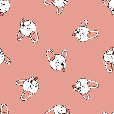 Vector cartoon character happy cute french bulldog seamless pattern background for design. Standard-Bild - 118565344