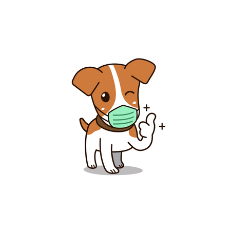 Vector cartoon cute dog wearing hygienic mask for design. Standard-Bild - 118565347