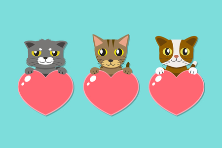 Set of cartoon cats with heart signs for design. Standard-Bild - 118565362