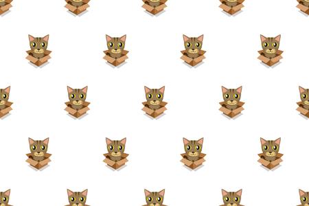 Vector cartoon tabby cat in cardboard box seamless pattern for design. Standard-Bild - 119144921