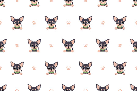 Vector cartoon character chihuahua dog seamless pattern for design. Standard-Bild - 119144923