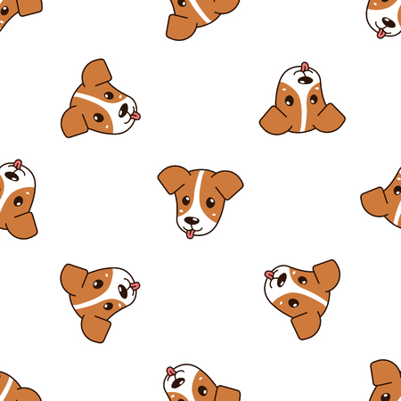 Vector cartoon character cute dog seamless pattern background for design. Standard-Bild - 119144924