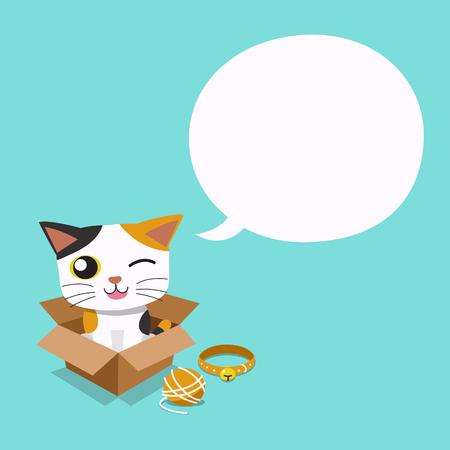 Vector cartoon cute cat with speech bubble Standard-Bild - 119144932