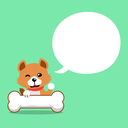 Vector cartoon cute dog with speech bubble for design. Standard-Bild - 119144933