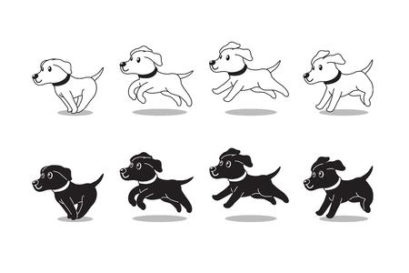 Cartoon character labrador retriever dog running step for design. Illustration