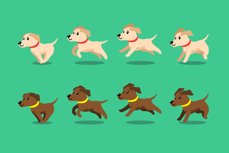 Vector cartoon character labrador retriever dog running step for design.