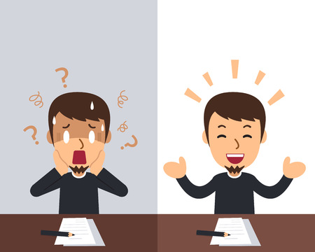 Cartoon a man expressing different emotions for design.