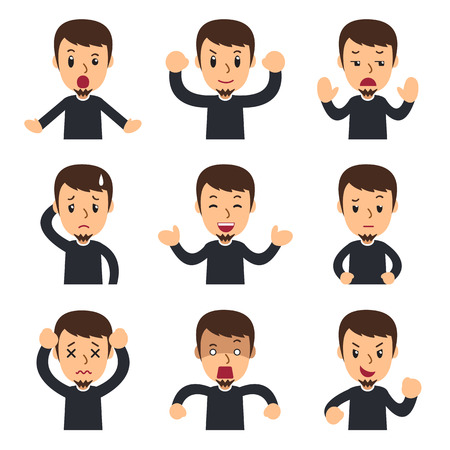 Vector cartoon set of man showing different emotions for design. Ilustração