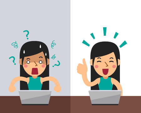 Vector cartoon woman expressing different emotions for design.