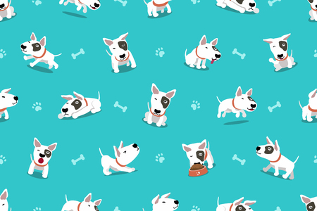 Vector cartoon character bull terrier dog seamless pattern for design.