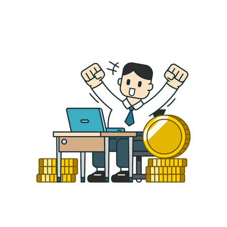Cartoon business concept a businessman with big coin stack for design. Standard-Bild - 120151391