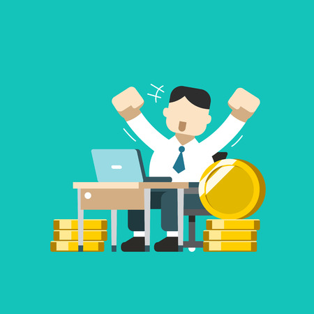 Vector cartoon business concept a businessman with big coin stack for design.