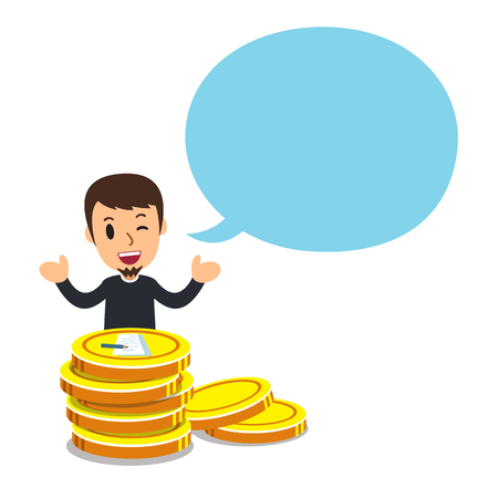 Vector cartoon business concept man with big coin stack and speech bubble for design.