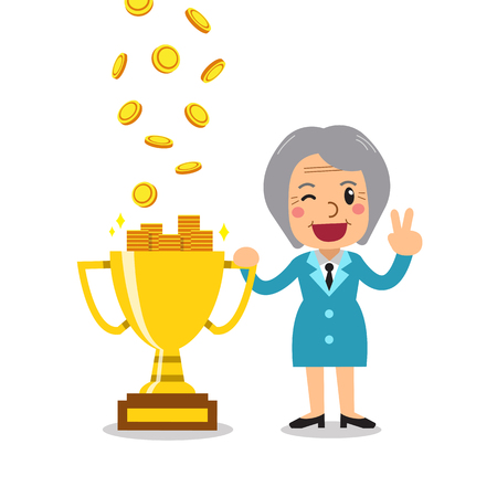 Cartoon senior businesswoman earning money with trophy for design. Illustration
