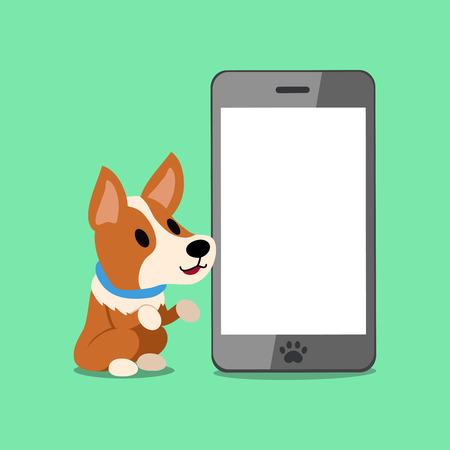 Cartoon character corgi dog and smartphone for design. Ilustração