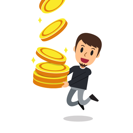 Business concept vector cartoon man with big coins stack for design.