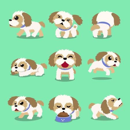 Cartoon character shih tzu dog poses for design. Illustration