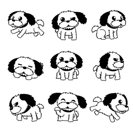 Vector cartoon character shih tzu dog poses for design.