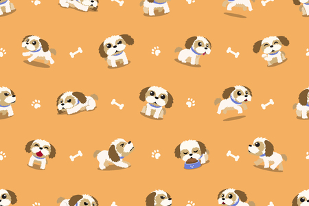 Vector cartoon character shih tzu dog seamless pattern for design.