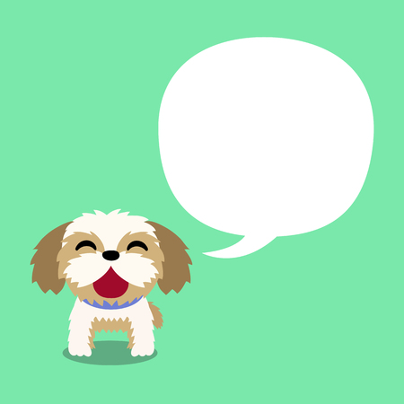 Vector cartoon character shih tzu dog with white speech bubble for design.
