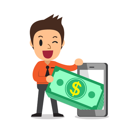 Cartoon businessman pulling money stack from smartphone for design.