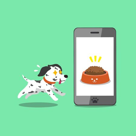 Cartoon character cute dalmatian dog and smartphone for design. Illustration