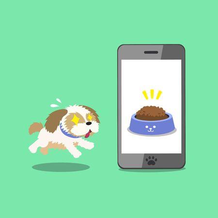 Cartoon character cute shih tzu dog and smartphone for design. Illustration