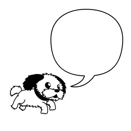 Vector cartoon character shih tzu dog with speech bubble for design.