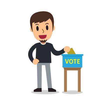 Homme de dessin animé mettant le bulletin de vote dans l'urne pour la conception.